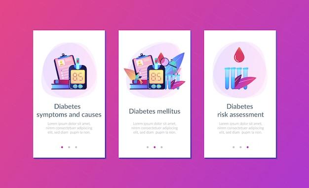 Plantilla de interfaz de la aplicación de diabetes mellitus.