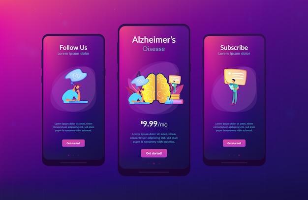 Plantilla de interfaz de la aplicación de la enfermedad de alzheimer.