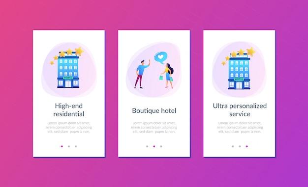 Plantilla de interfaz de aplicación de hotel boutique.