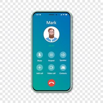Plantilla de interfaz de aplicación de llamada de teléfono inteligente en un transparente. llamada entrante .