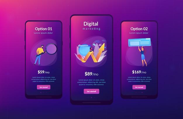 Plantilla de interfaz de aplicación de marketing digital