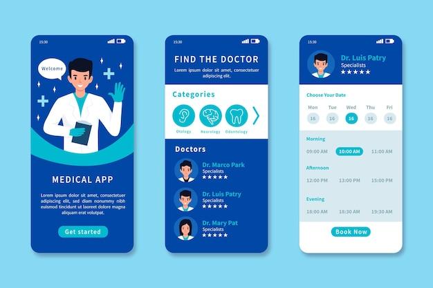 Plantilla de interfaz de la aplicación de reserva médica