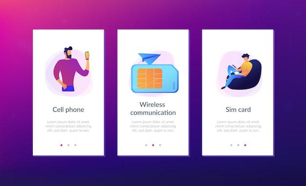 Plantilla de interfaz de la aplicación de la tarjeta de teléfonos móviles.