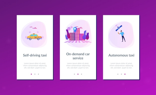 Plantilla de interfaz de aplicación de taxi autónomo.