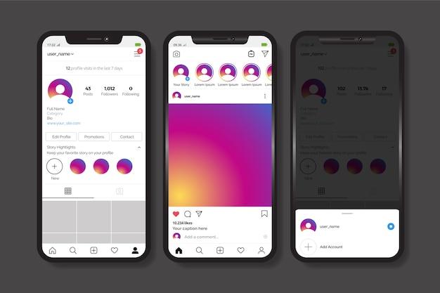Plantilla de interfaz de perfil de instagram con teléfono móvil