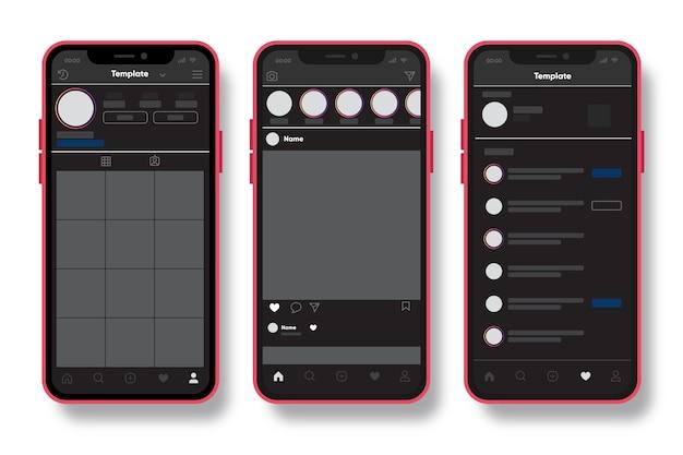 Plantilla de interfaz de perfil de instagram con tema móvil