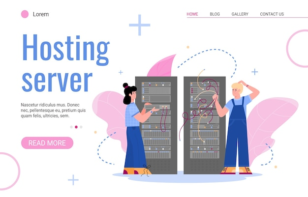 Plantilla de interfaz de sitio web para servidor de alojamiento con personajes del personal de ti que trabaja en el servidor del centro de datos, plano. servicio de internet para almacenamiento de datos.