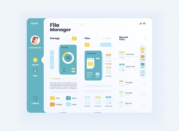 Plantilla de interfaz de tableta administrador de archivos