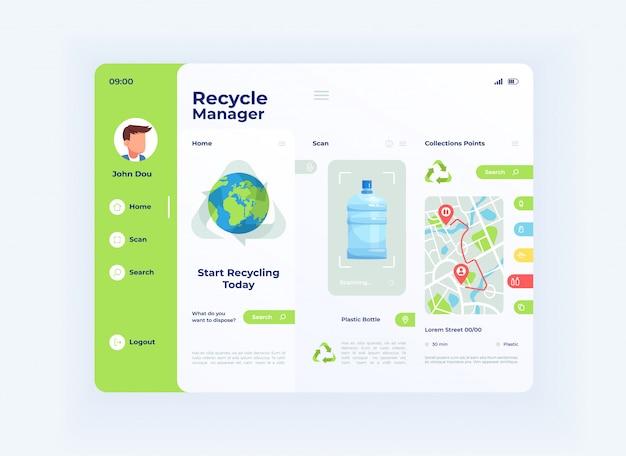 Plantilla de interfaz de tableta de administrador de reciclaje