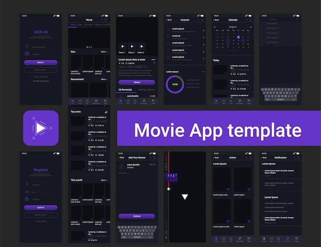 Plantilla de interfaz de usuario de la aplicación de transmisión de películas