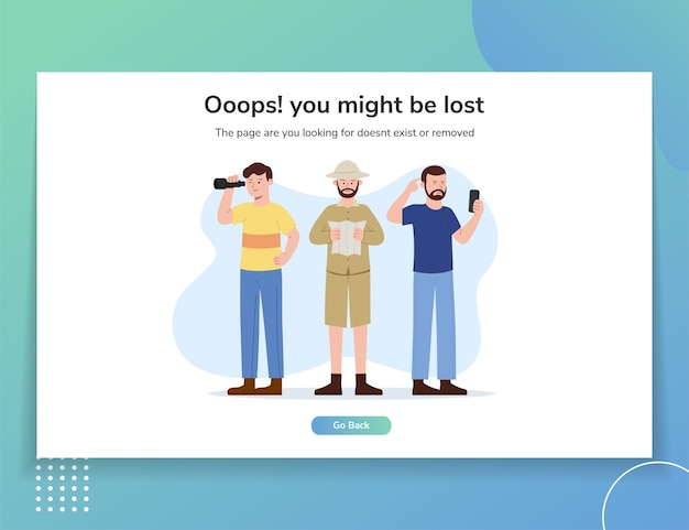 Plantilla de interfaz de usuario de ilustración de página de destino de sitio web de error