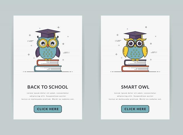 Plantilla de interfaz de usuario o banners web para el tema de la educación.