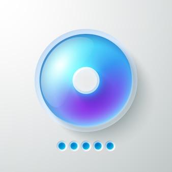 Plantilla de interfaz web abstracta empresarial con botón de luz azul