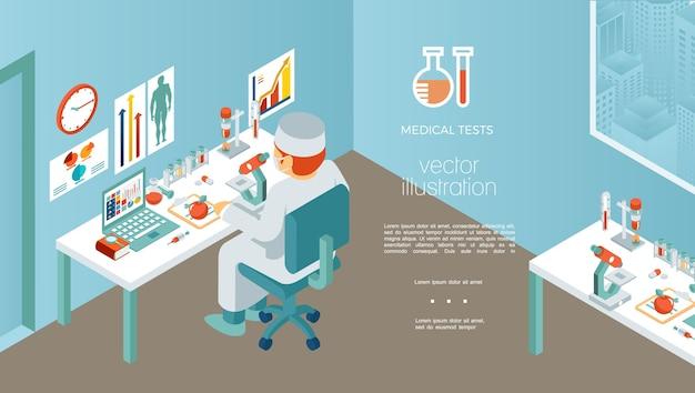 Plantilla de investigación médica isométrica