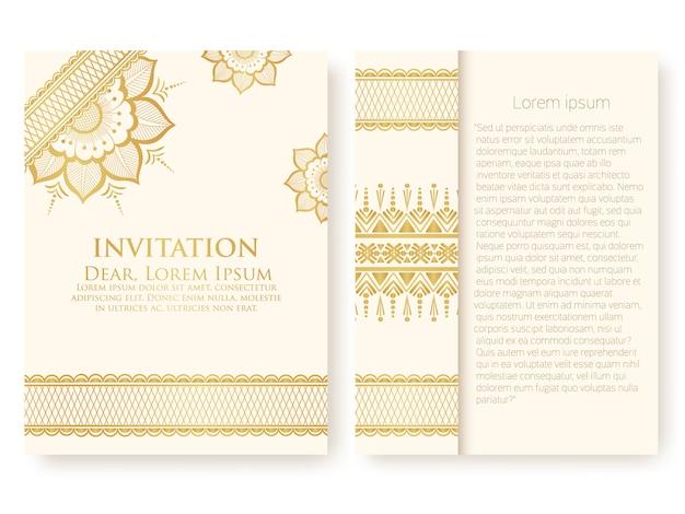 Plantilla de invitación con adornos abstractos