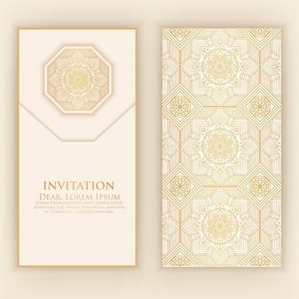 Plantilla de invitación árabe dorado