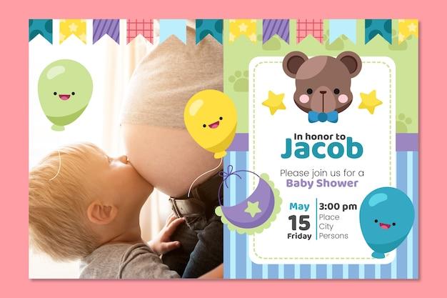 Plantilla de invitación de baby boy ducha
