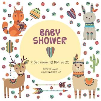 Plantilla de invitación de baby shower con animales étnicos