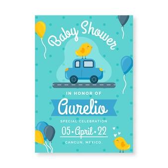 Plantilla de invitación de baby shower azul