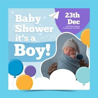 Plantilla de invitación de baby shower boy con foto