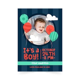 Plantilla de invitación de baby shower boy con imagen