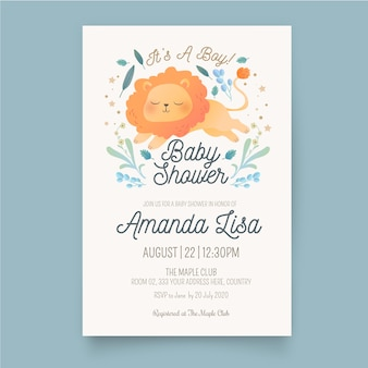 Plantilla de invitación de baby shower boy
