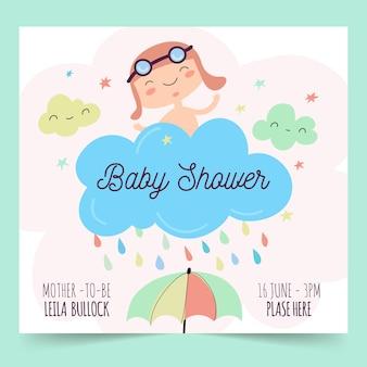 Plantilla de invitación de baby shower boy