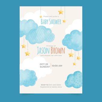 Plantilla de invitación de baby shower de chuva de amor en acuarela