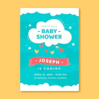 Plantilla de invitación de baby shower chuva de amor dibujada a mano