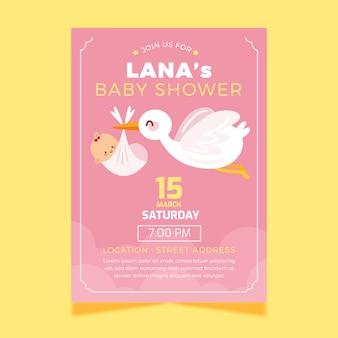 Plantilla de invitación de baby shower con cigüeña