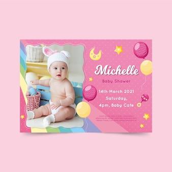 Plantilla de invitación de baby shower para el concepto de niña