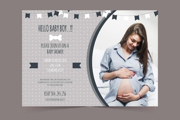 Plantilla de invitación de baby shower para concepto de niño
