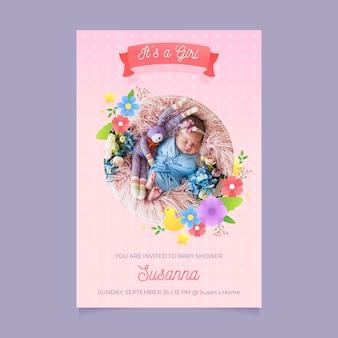 Plantilla de invitación de baby shower para diseño de niña