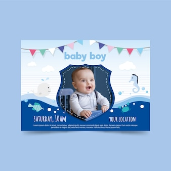 Plantilla de invitación de baby shower para diseño de niño