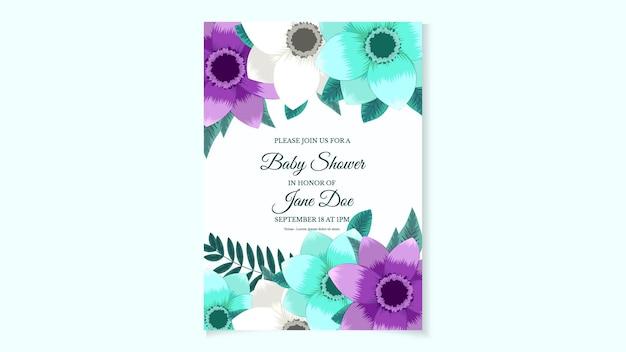 Plantilla de invitación de baby shower con flores de diseño floral dulce hojas editables personalizables