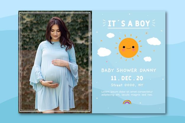 Plantilla de invitación de baby shower con foto (niño)