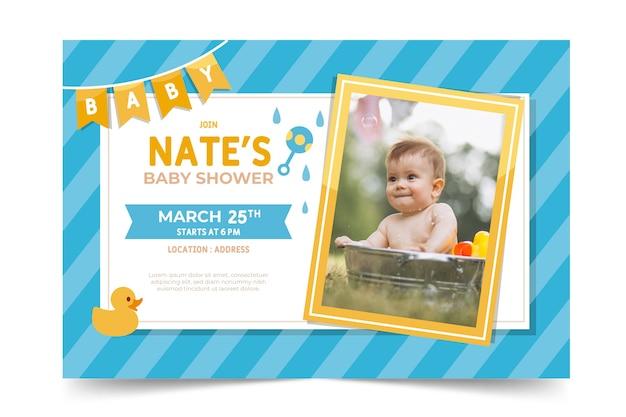 Plantilla de invitación de baby shower con foto