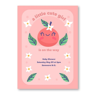 Plantilla de invitación de baby shower girl