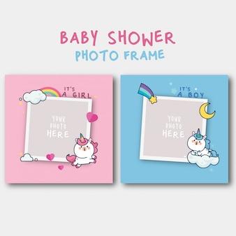 Plantilla de invitación de baby shower con lindo unicornio