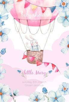 Plantilla de invitación de baby shower para niña, lindo conejito en globo aerostático