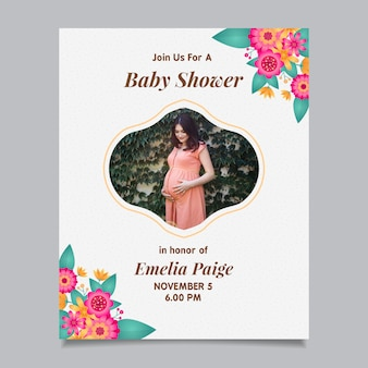 Plantilla de invitación de baby shower con (niña)