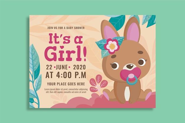 Plantilla de invitación para baby shower de niña