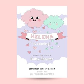Plantilla de invitación de baby shower orgánica plana chuva de amor