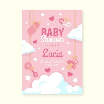 Plantilla de invitación de baby shower rosa