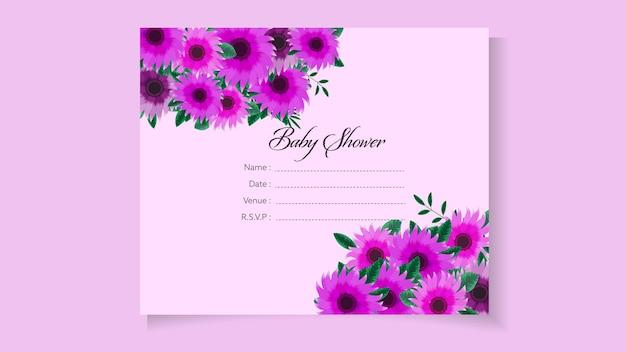 Plantilla de invitación de baby shower con tema de diseño floral dulce, lindas flores, hojas