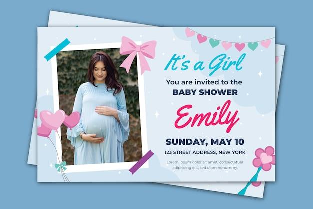Plantilla de invitación de baby shower para tema de niña