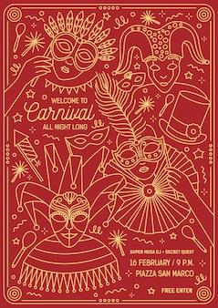 Plantilla de invitación para baile de máscaras con personajes con disfraces y máscaras festivas