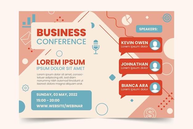 Plantilla de invitación de banner de seminario web de conferencia de negocios