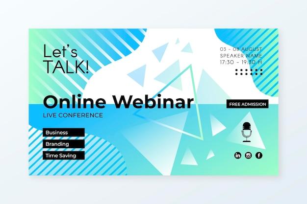 Plantilla de invitación de banner de seminario web con formas abstractas
