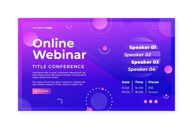 Plantilla de invitación de banner de seminario web con formas púrpuras